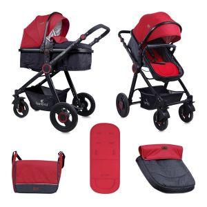 Детска комбинирана количка ALEXA LORELLI - Black&Dark Red