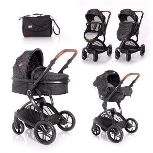 Бебешка комбинирана количка LUMINA SET LORELLI - Black
