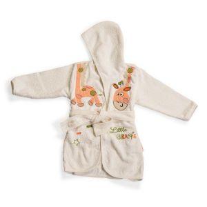 Детски халат Little Giraffe CANGAROO - бял