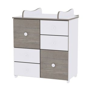 Шкаф за детска стая NEW LORELLI - бяло/кафе