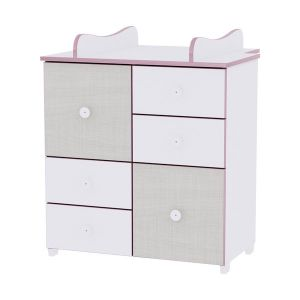 Шкаф за детска стая NEW LORELLI - бяло/розов crossline