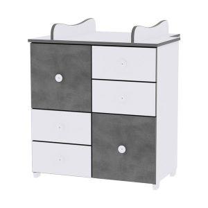 Шкаф за детска стая NEW LORELLI - бяло/vintage gray