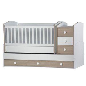 Детско легло Деси Макси Dizain Baby - бял + дъб / подвижна решетка