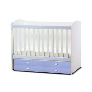 Детско легло Деси Dizain Baby - бял + син / подвижна решетка