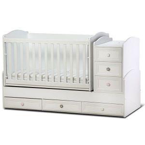 Детско легло Елена Dizain Baby - бяло / подвижна решетка