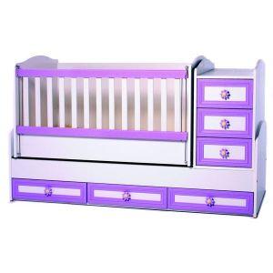 Детско легло Елена Dizain Baby - бяло + лилаво / подвижна решетка