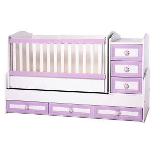 Детско легло Елена Dizain Baby - бяло + розово / подвижна решетка