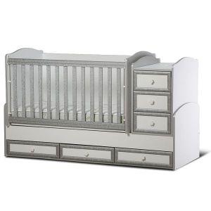 Детско легло Елена Dizain Baby - бяло + сиво / подвижна решетка