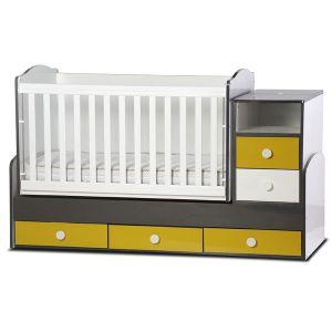 Детско легло Емили - серия гланц Dizain Baby - бял + графит + жълт