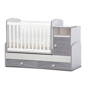 Детско легло Маги Dizain Baby - бял + лисабон / подвижна решетка