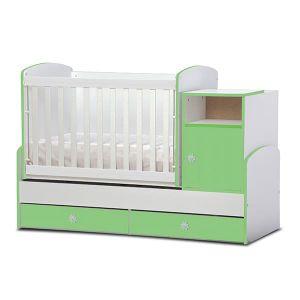 Детско легло Маги  Dizain Baby - бял + зелен / подвижна решетка
