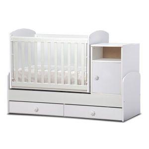 Детско легло Маги  Dizain Baby - бял / подвижна решетка