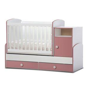 Детско легло Маги  Dizain Baby - бяло + розово / подвижна решетка