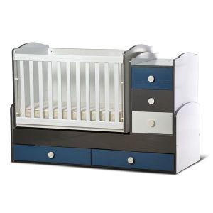 Детско легло Ниа - серия гланц Dizain Baby - бял + графит + петрол