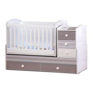Детско легло Ниа - серия гланц Dizain Baby - бял + калейдос + лате