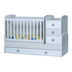 Детско легло Ниа Dizain Baby - бланко + бял / подвижна решетка