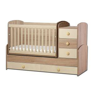 Детско легло Ниа Dizain Baby - дъб + крем / подвижна решетка