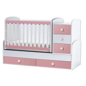 Детско легло Ниа Dizain Baby - бяло + розово / подвижна решетка