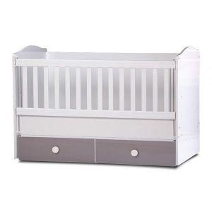 Детско легло Тони 70х140 - серия гланц Dizain Baby - бял + лате / подвижна решетка