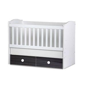 Детско легло Тони 60х120 - серия гланц Dizain Baby - бял + графит / подвижна решетка
