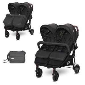 Детска количка за близнаци DUO LORELLI - Black CIRCLES