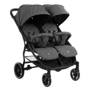 Бебешка количка за близнаци Happy 2 KIKKABOO - Dark Grey