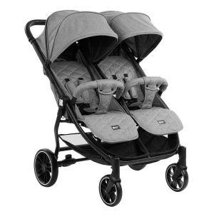 Бебешка количка за близнаци Happy 2 KIKKABOO - Light Grey