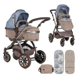 Комбинирана детска количка AURORA Lorelli - Beige&Blue Maps