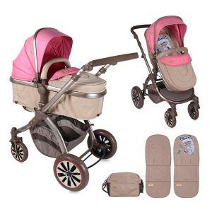 Комбинирана детска количка AURORA Lorelli - Rose&Beige Fashion Girl