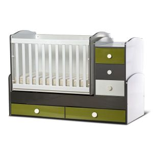 Детско легло Ниа - серия гланц Dizain Baby - бял + графит + зелено