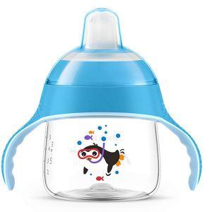 Неразливаща се чаша 200 ml. с мек накрайник Philips AVENT - пингвин/синя