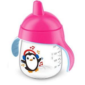 Неразливаща се чаша 260 ml. с твърд накрайник Philips AVENT - пингвин/розова