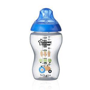 Шише за хранене Easi-Vent 340 ml. 3м+ Tommee Tippee - синьо с декорация